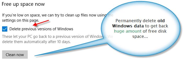 Storage sense option to delete data of older Windows versions