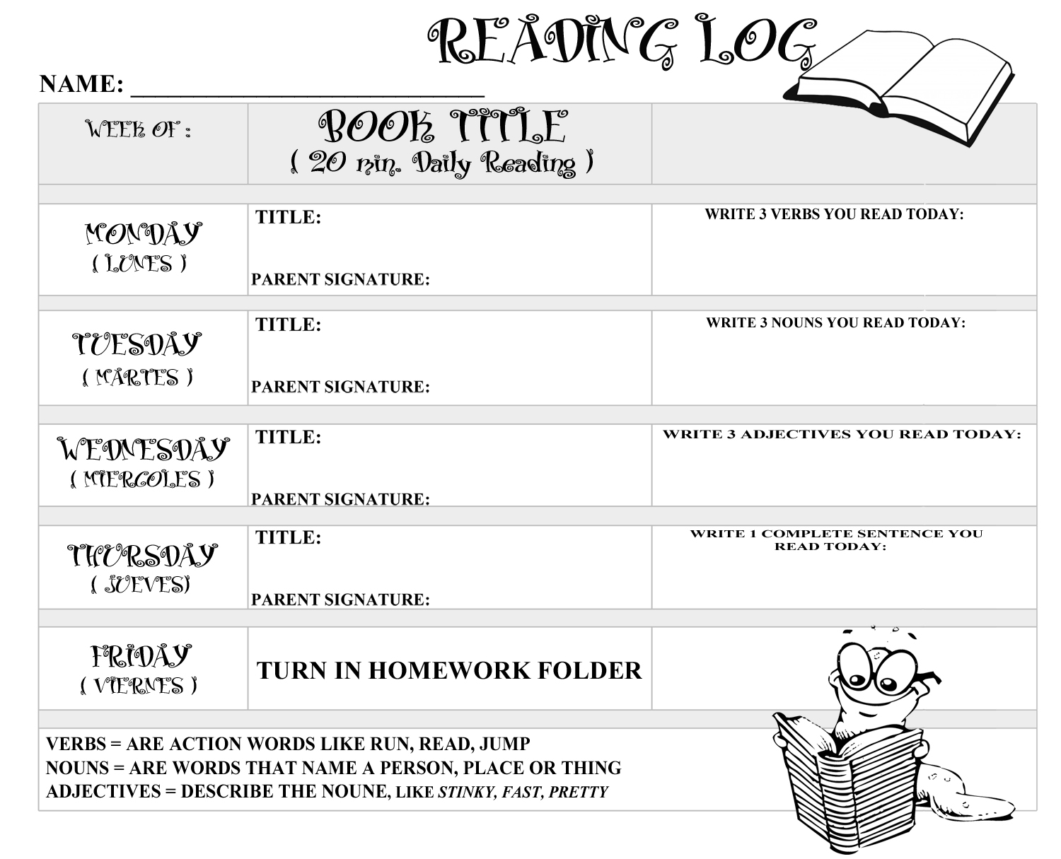 Printable Reading Logs With Parent Signature