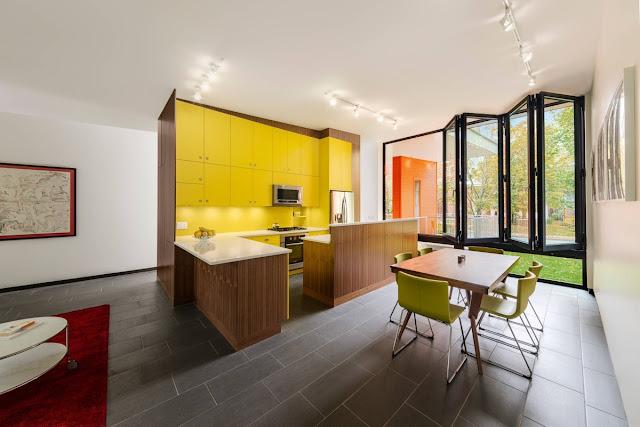 желтые фасады кухни
