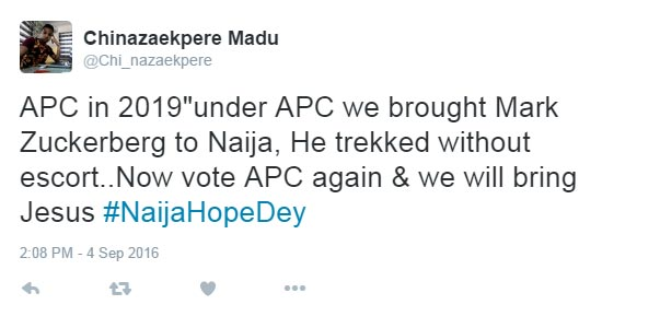 This is why APC should remain in power, according to Twitter user