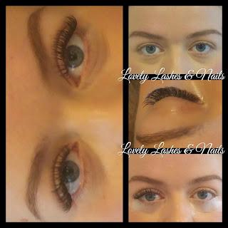 Foto van een klant met verschil in ogen met en zonder wimperextensions in Dronten op www.lovelylashesnails.nl