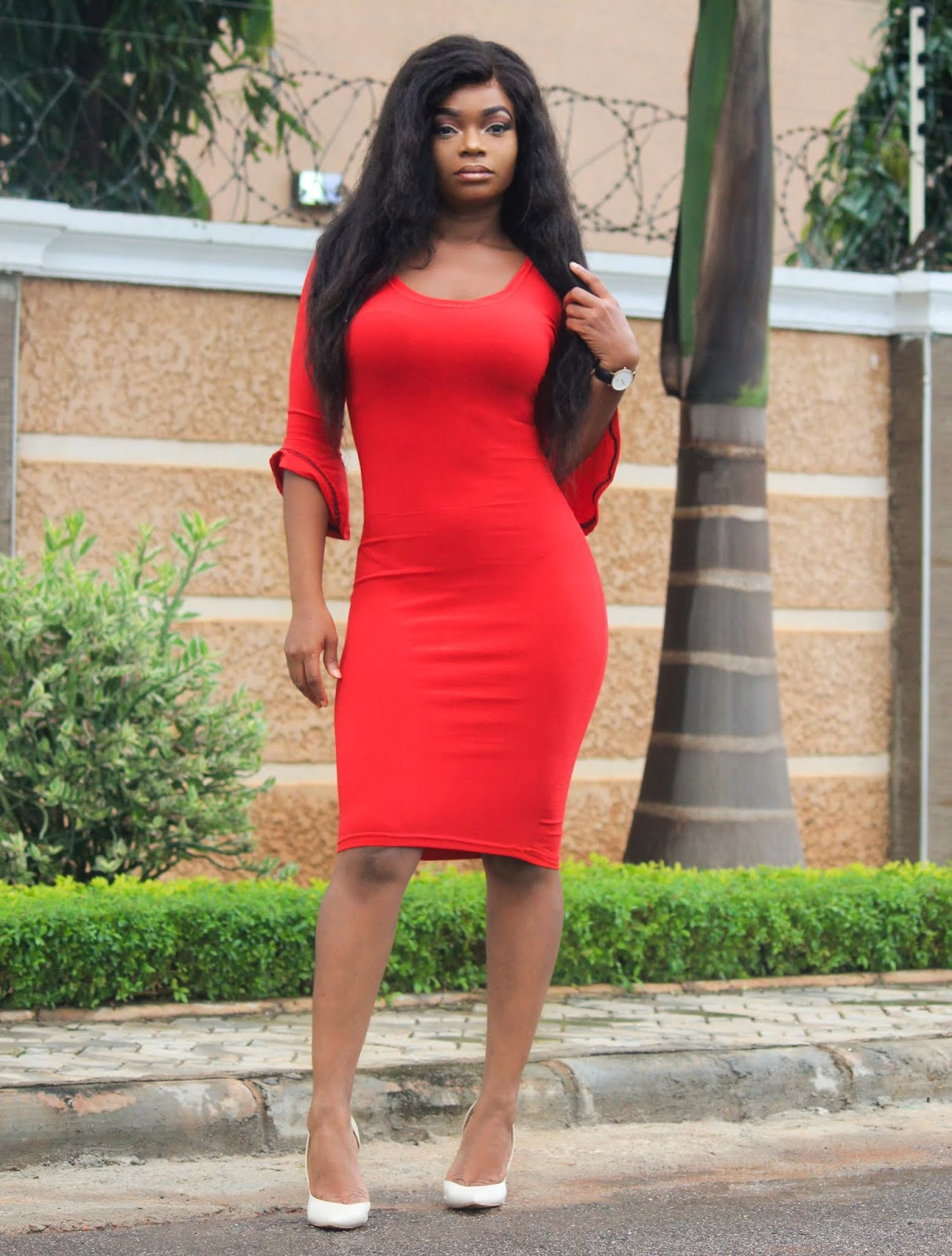 RED BODYCON DRESS - Red Bodycon Dress from Jumia with Boohoo Court Shoes