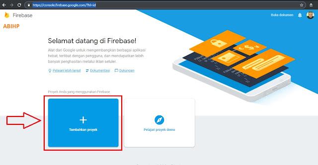 Silahkan pilih tombol tambahkan proyek pada Firebase untuk membuat count view.