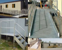 handicap ramp and metal steps for modular building