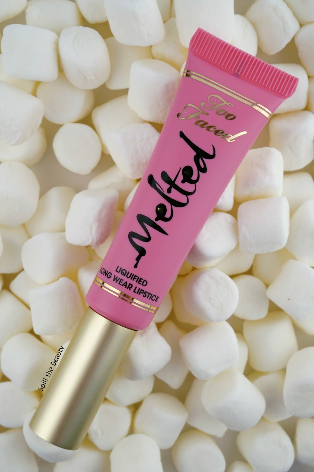 Too Faced Liquified Long Wear Lipstick Melted Marshmallow review swatches