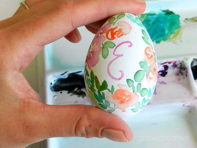 Watercolor Floral Monongram Easter Egg: grow creative blog