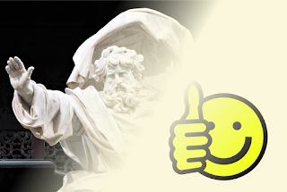 "An image of the statue of ""God the Father"" at Saint Saviour's Cathedral, Bruges, fading from the top right to the bottom left into an off-white background with an image of yellow ""smiley"" with a ""thumbs up"" gesture."