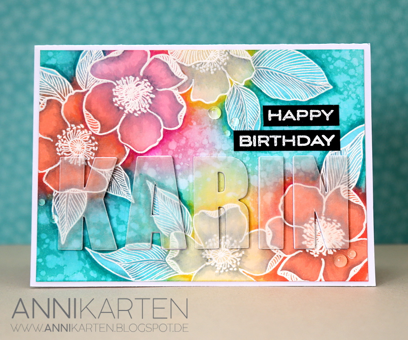 I Started By Stamping The Beautiful Flowers From Altenews Adore You On A Piece Of Water Colour Cardstock With Little Bit Masking And Heat Embossed