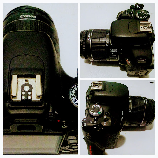 Canon EOS Rebel 3Ti Camera - A three picture collage of the hot shoe, mode dial and 18-55 mm lens.