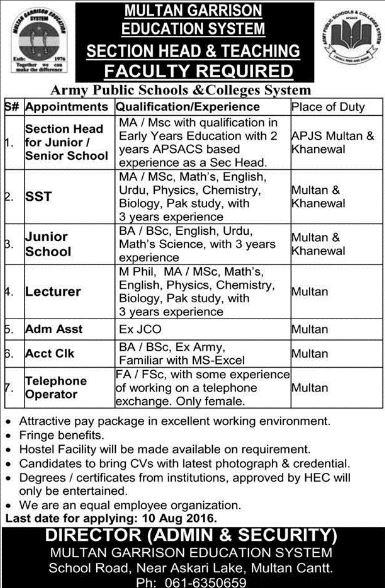 Army public school jobs, Khanewal, Multan, Private Jobs, Lecturer, Admin Jobs, Teachers jobs, MA, MSC, BA, BSC, fa, FSC, jobs in khanewal army school, multan army school jobs, garrision education system jobs, teachers jobs in army school,