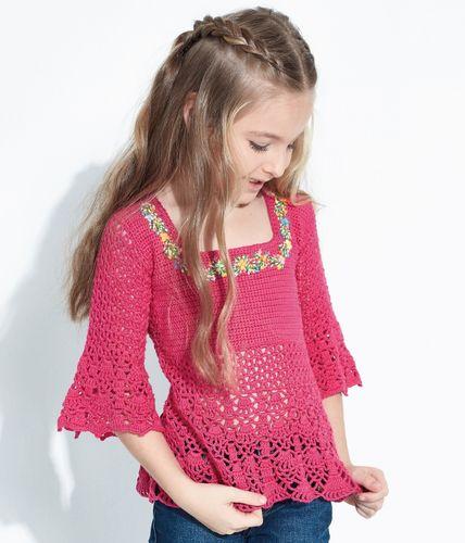 Blusa de Crochê Infantil Charminho - Passo a passo com gráfico