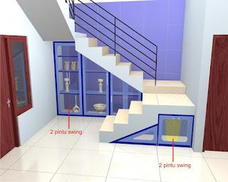 Almari Bawah Tangga Pintu Kaca Minimalis