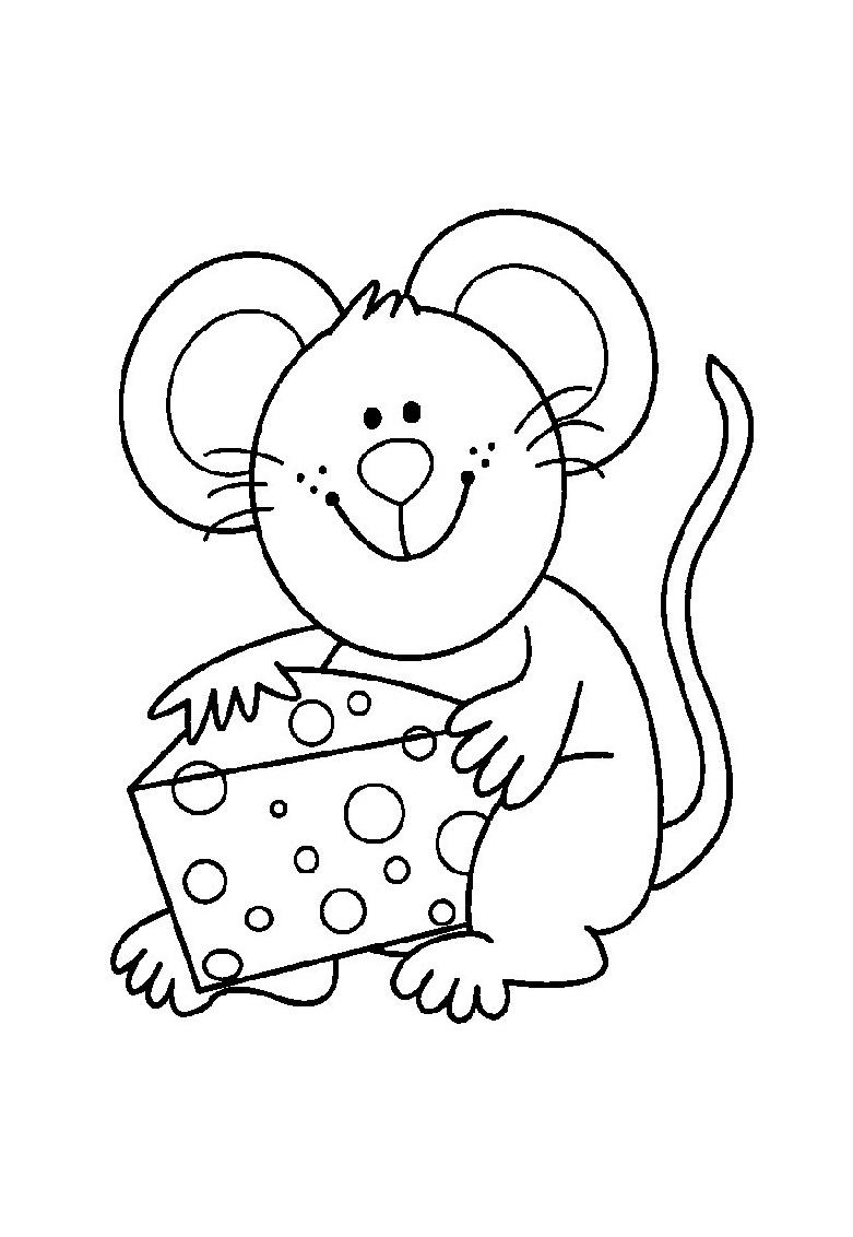 Tranh tô màu con chuột và miếng phô mai