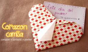 tarjeta corazon con corbata dia del padre