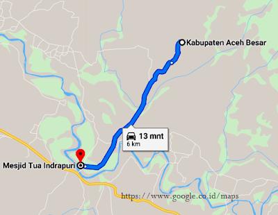 Peta Lokasi Wisata Sejarah Masjid Tua Indrapuri Aceh dari Kabupaten Aceh Besar