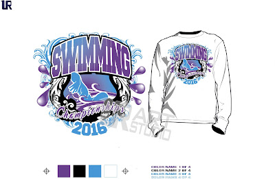 DOWNLOAD Swimming Ttshirt Vector Design 4 Color Separated For Print Layered