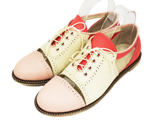 Tinuku.com Pink Locomote studio design Brogues Flat shoes series young vibrant colors and expose pieces stitches