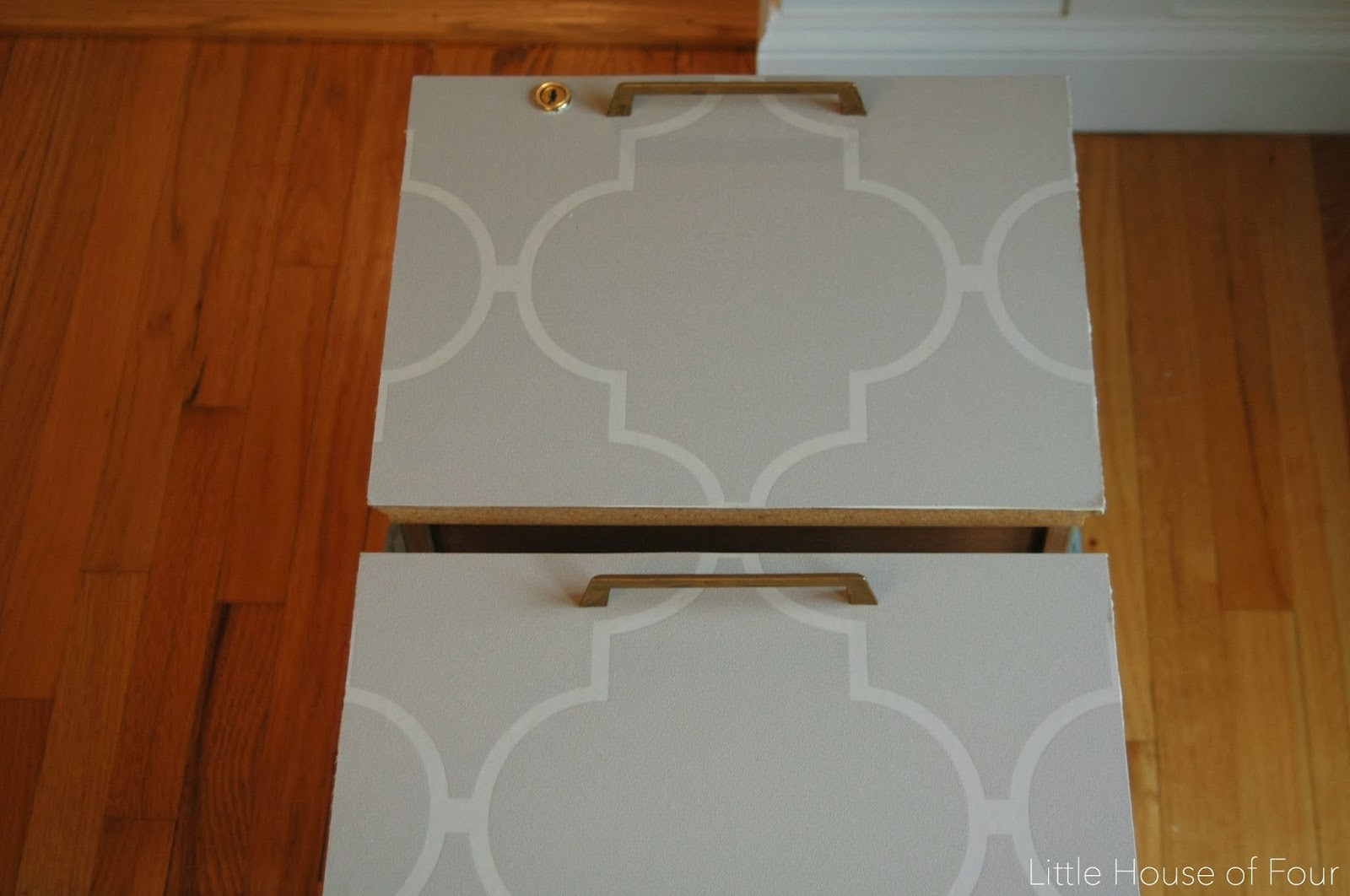 wallpaper covered file cabinet