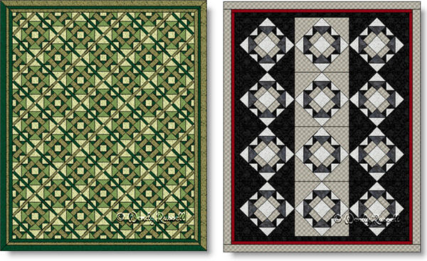 Quilts designed using the GARDEN SQUARE quilt block - imagex © Wendy Russell