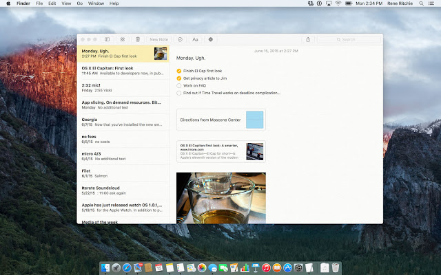 Notes in OS X 10.11 El Capitan