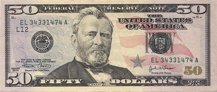 Банкнота долларов номиналом 50$