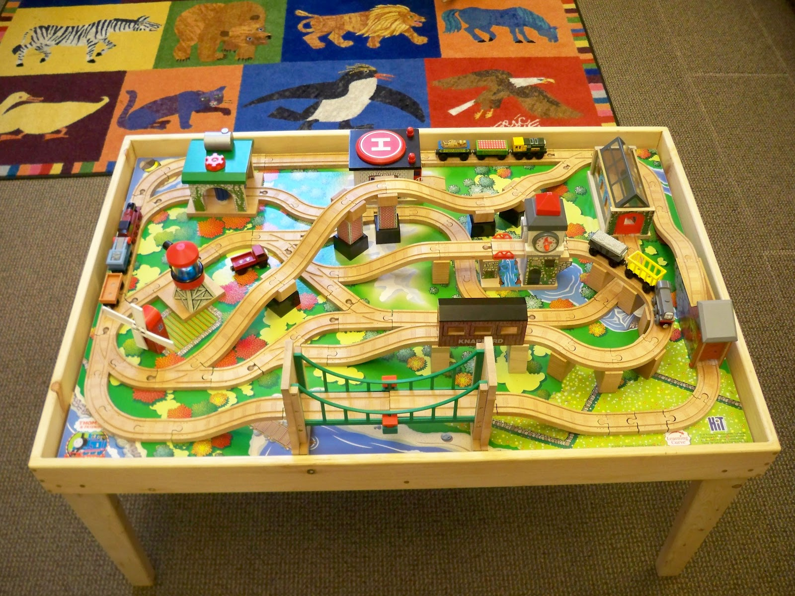 Imaginarium Classic Train Table With Roundhouse Wooden Train Set