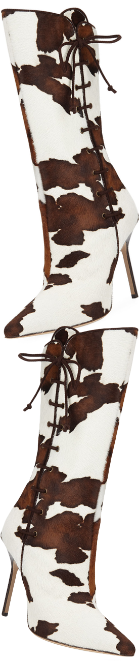 Manolo Blahnik Vane Calf Hair Mid-Calf Boot with Lace-Up Detail