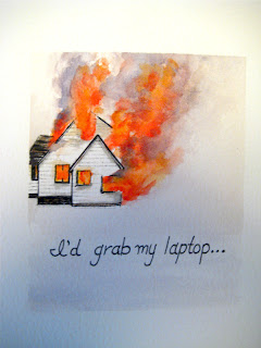 watercolor painting, house fire, laptop