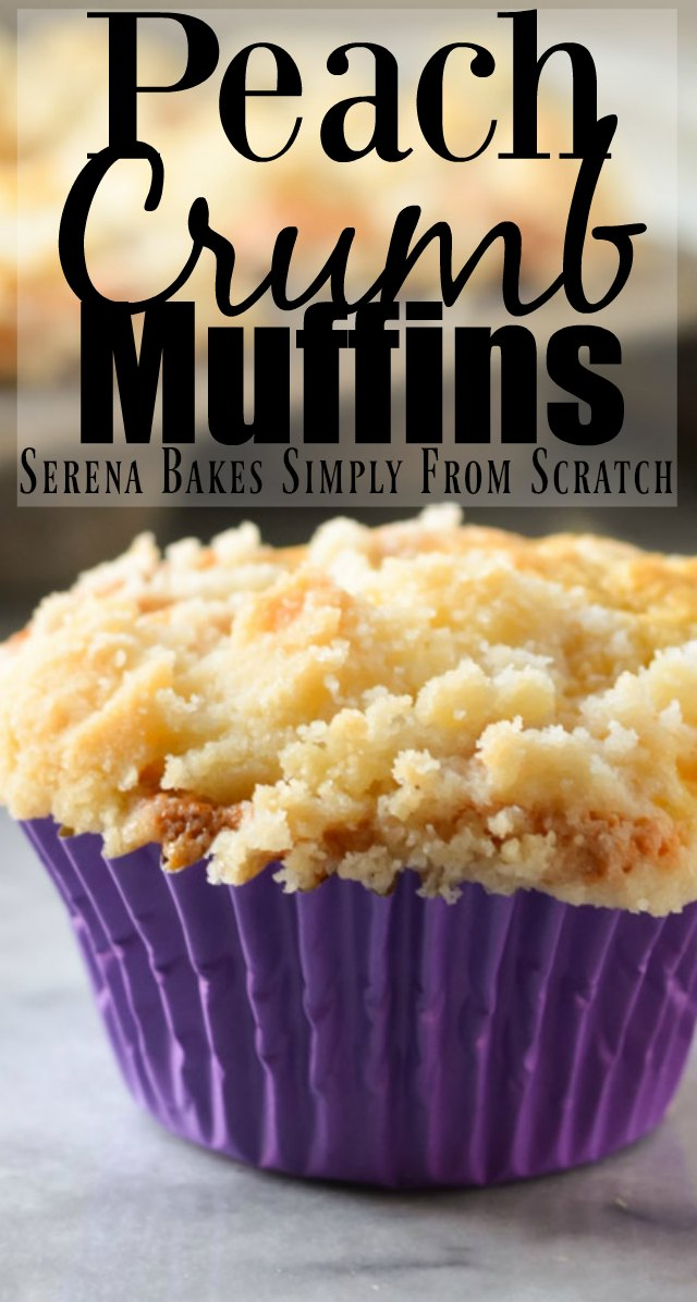 Peach Crumb Muffins are a soft tender cake like muffin with a coffee cake style crumb filled with plenty of peaches from Serena Bakes Simply From Scratch.