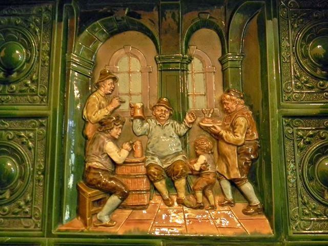 kafel, płaskorzeźba, piwo, zamek w Czernej