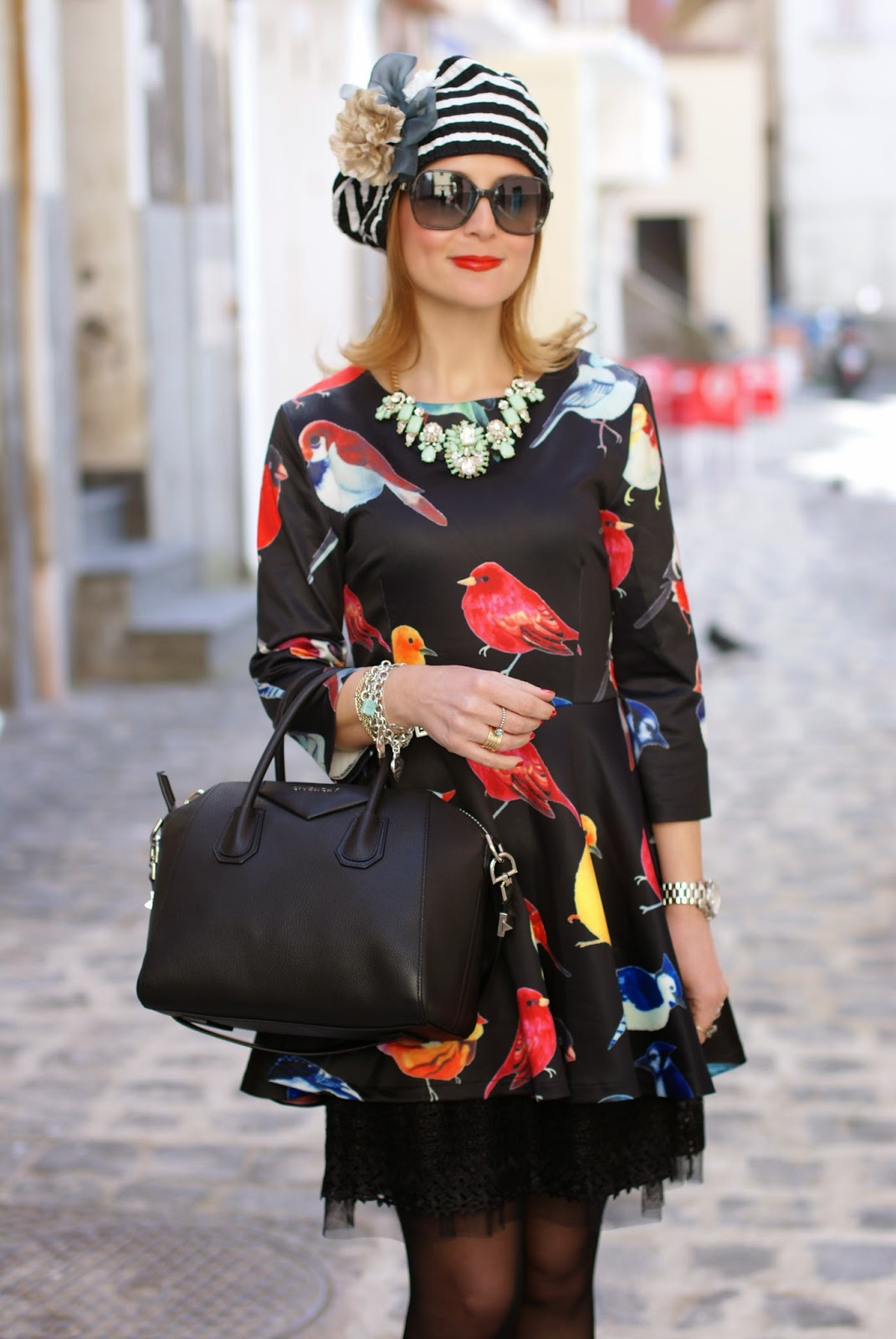 sheinside birds print dress, Unica striped hat, Givenchy Antigona bag, Fashion and Cookies, fashion blogger