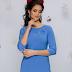 Rochie de zi eleganta albastra maneci trei sferturi