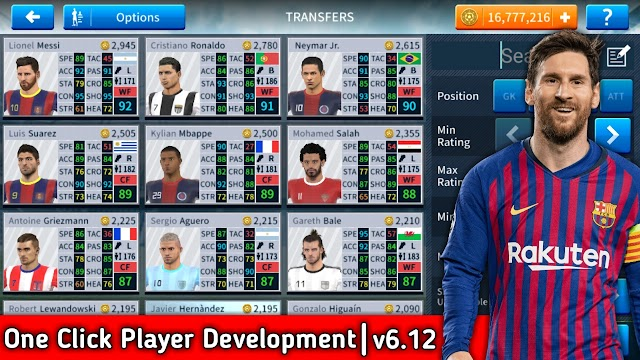 Dream League Soccer 2019 Mega MOD Apk v6.12 (All Players Unlocked+One Click Players Development)