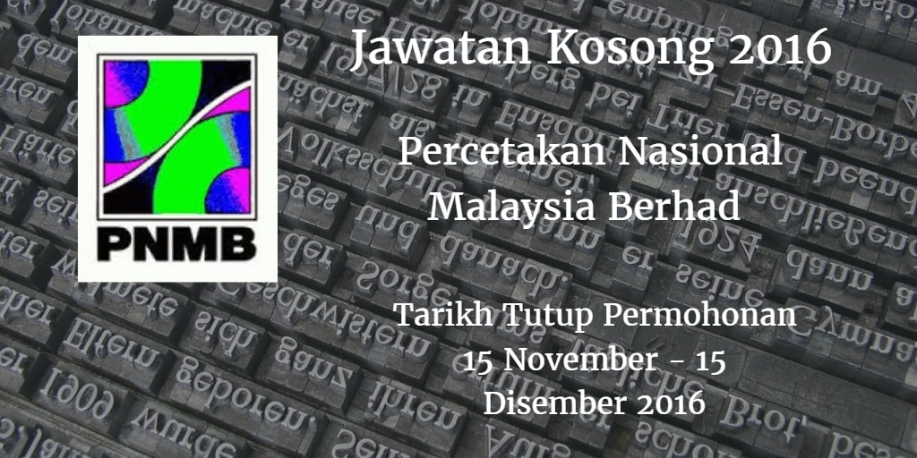 Jawatan Kosong PNMB 15 November - 15 Disember 2016