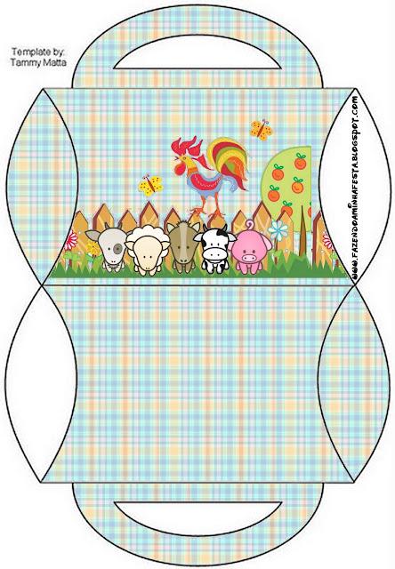 Caja tipo almohada de La Granja Bebés en Celeste   para imprimir gratis.