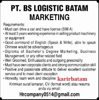 Lowongan Kerja PT. BS Logistic Batam
