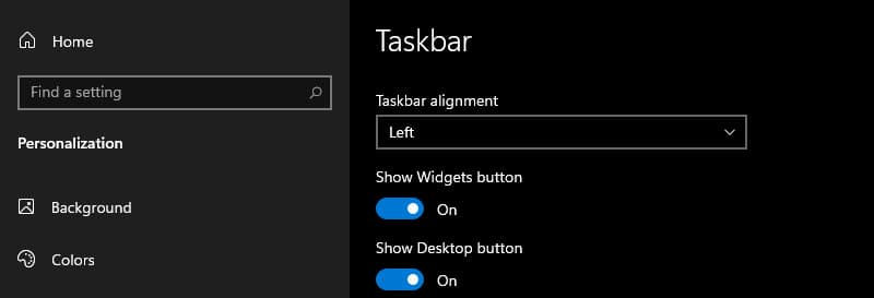 Reposition the Windows 11 taskbar to left