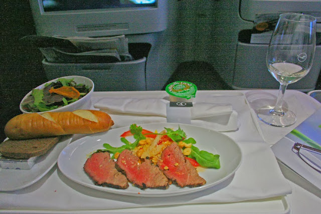Appetizer in Business Class aboard Lufthansa A330