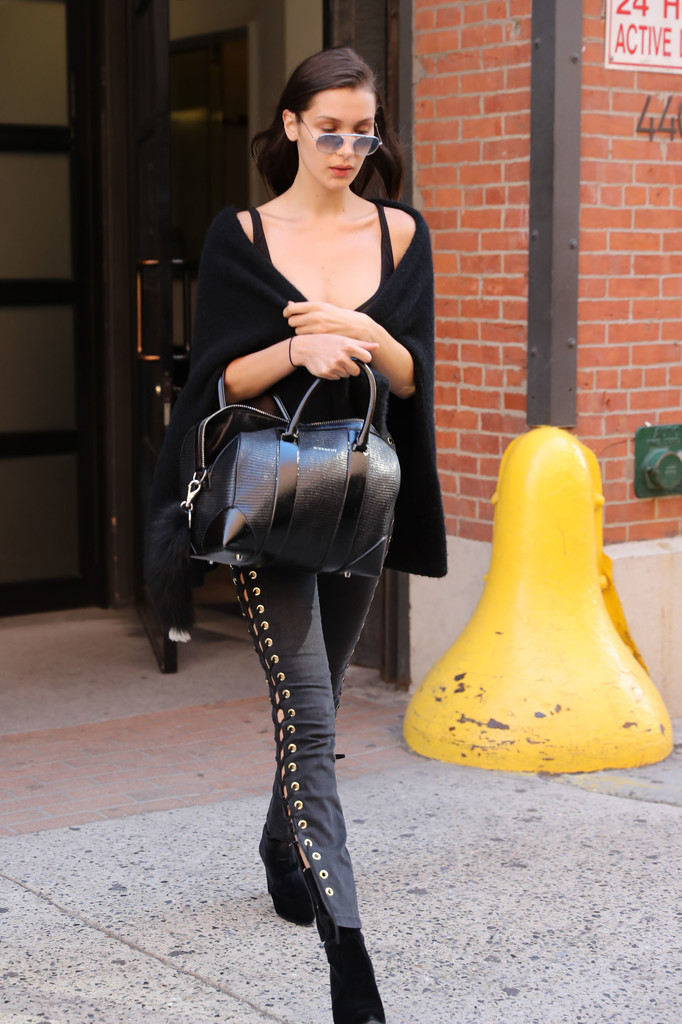 Bella Hadid Wears All Black at Milk Studios in NY