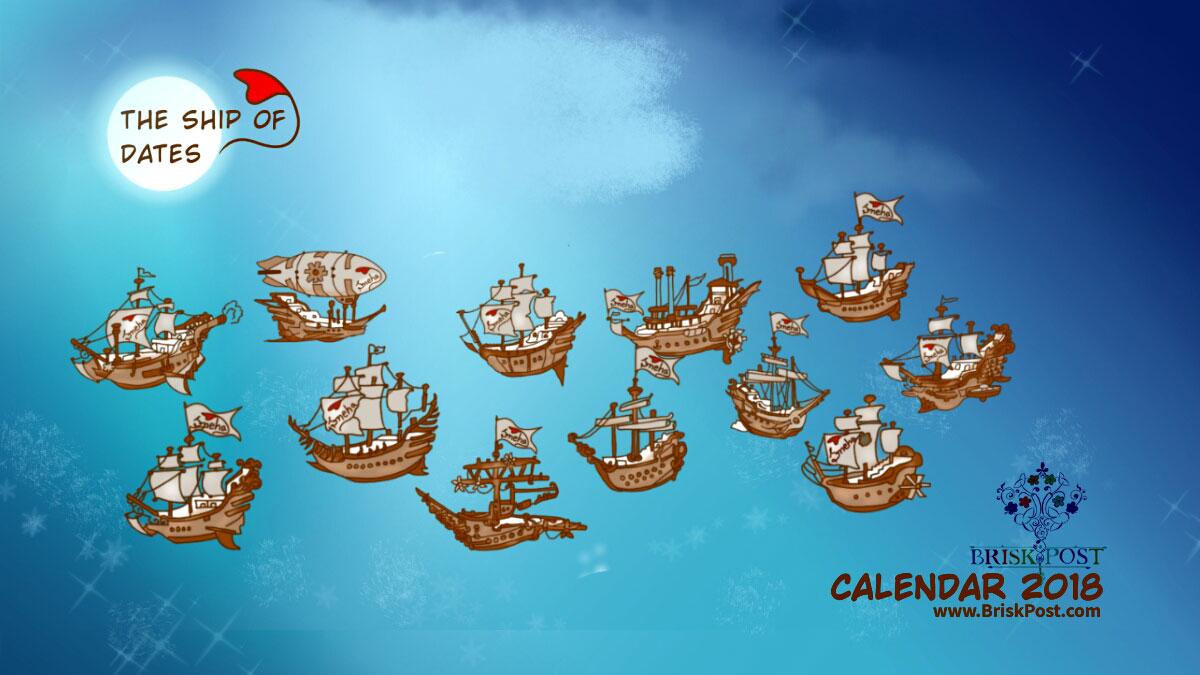 Calendar 2018 template: Sea Ships under moon light in night