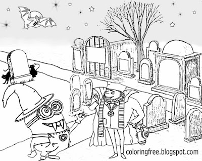 Easy drawing ideas for teenagers despicable me and minion Halloween coloring pages graveyard party