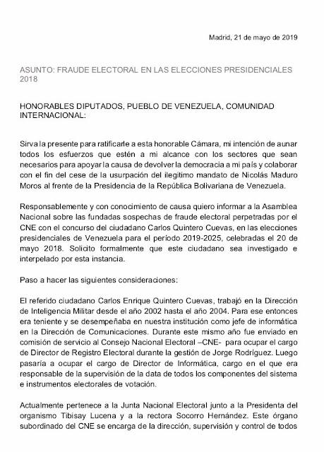 La reveladora carta del Pollo Carvajal sobre los «fraudes electorales» del chavismo