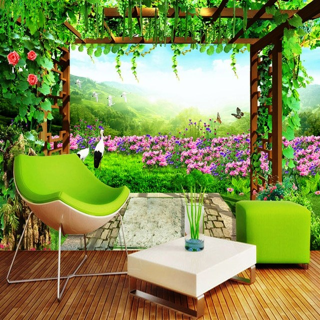 02. Wallpaper 3D bertema Taman Outdoor
