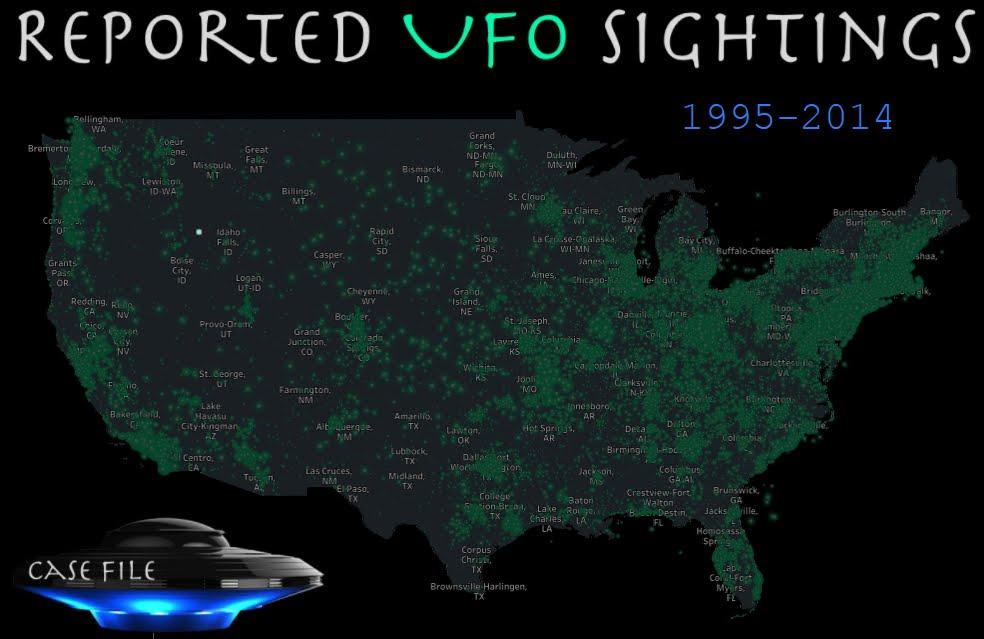 Mappa degli Avvistamenti UFO Ovni catturati negli Stati Uniti | Reported UFO Sightings