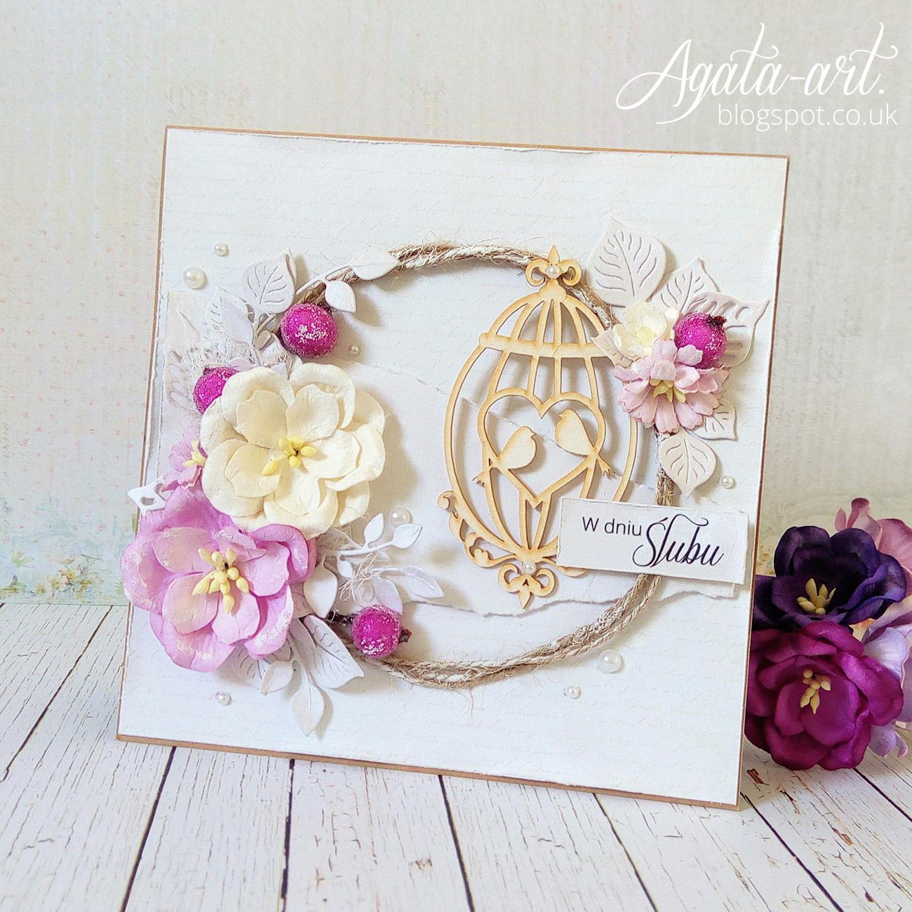 Kartka na ślub w fioletach i beżach