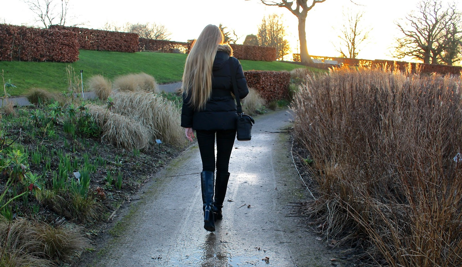 long blonde hair walking