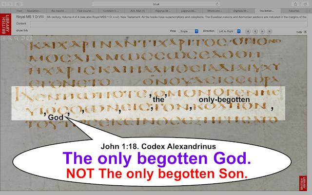 John 1:18. Codex Alexandrnus.