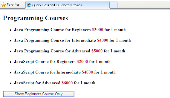 jQuery class and ID selector example