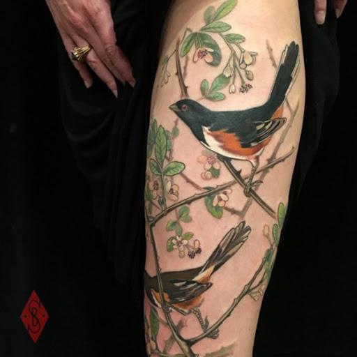 Feliz aves de pe sobre ramos