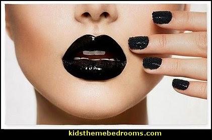 Trendy Black Caviar Manicure AREA RUG